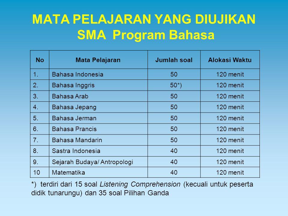 MATA PELAJARAN YANG DIUJIKAN SMA Program Bahasa NoMata PelajaranJumlah soalAlokasi Waktu 1.Bahasa Indonesia50120 menit 2.Bahasa Inggris 50*)120 menit