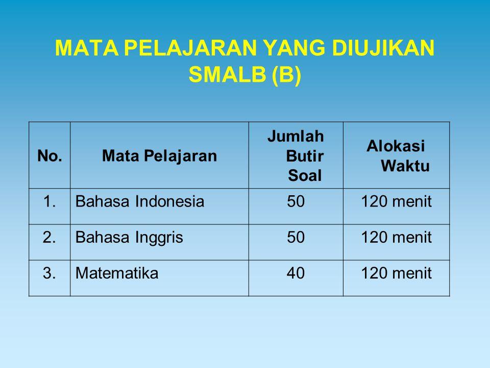 MATA PELAJARAN YANG DIUJIKAN SMALB (B) No.Mata Pelajaran Jumlah Butir Soal Alokasi Waktu 1.Bahasa Indonesia50120 menit 2.Bahasa Inggris50120 menit 3.M