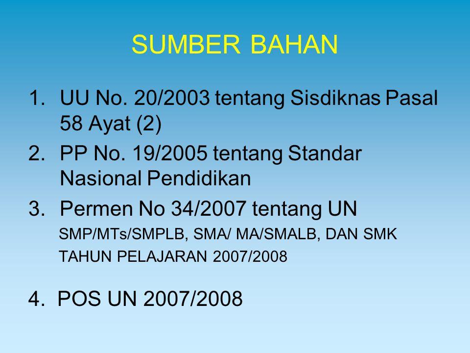 SUMBER BAHAN 1.UU No. 20/2003 tentang Sisdiknas Pasal 58 Ayat (2) 2.PP No. 19/2005 tentang Standar Nasional Pendidikan 3.Permen No 34/2007 tentang UN