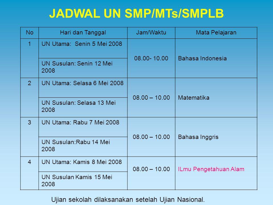 JADWAL UN SMP/MTs/SMPLB NoHari dan TanggalJam/WaktuMata Pelajaran 1UN Utama: Senin 5 Mei 2008 08.00- 10.00Bahasa Indonesia UN Susulan: Senin 12 Mei 20