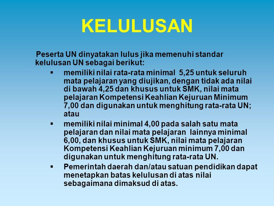 KELULUSAN Peserta UN dinyatakan lulus jika memenuhi standar kelulusan UN sebagai berikut:  memiliki nilai rata-rata minimal 5,25 untuk seluruh mata p