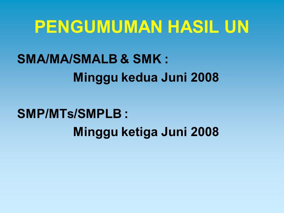 PENGUMUMAN HASIL UN SMA/MA/SMALB & SMK : Minggu kedua Juni 2008 SMP/MTs/SMPLB : Minggu ketiga Juni 2008