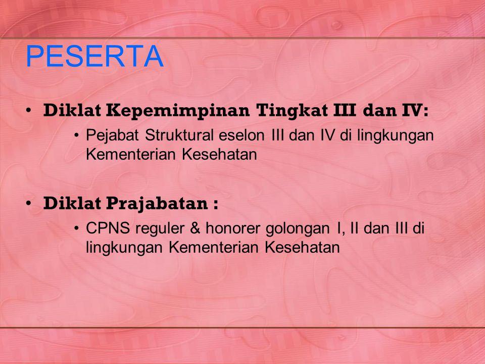 PESERTA Diklat Kepemimpinan Tingkat III dan IV: Pejabat Struktural eselon III dan IV di lingkungan Kementerian Kesehatan Diklat Prajabatan : CPNS regu