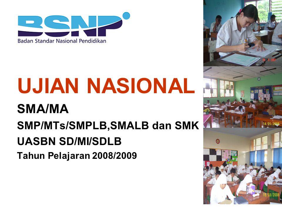 SUMBER BAHAN 1.Permendiknas Nomor 77 tahun 2008 tentang Ujian Nasional (UN) SMA/MA tahun pelajaran 2008/2009 2.Permendiknas Nomor 78 tahun 2008 tentang Ujian Nasional (UN) SMP/MTs/SMPLB, SMALB, dan SMK tahun pelajaran 2008/2009 3.Permendiknas Nomor 82 tahun 2008 tentang Ujian Akhir Sekolah Berstandar Nasional (UASBN) Sekolah/Madrasah (SD/MI/SDLB) Tahun Pelajaran 2008/2009.