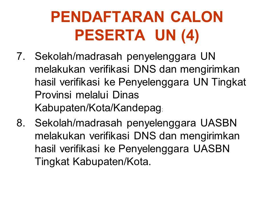 PENDAFTARAN CALON PESERTA UN (4) 7.Sekolah/madrasah penyelenggara UN melakukan verifikasi DNS dan mengirimkan hasil verifikasi ke Penyelenggara UN Tin