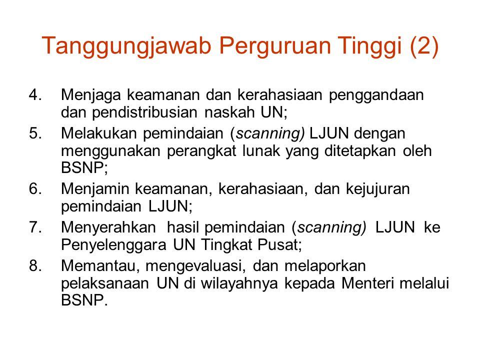 Tanggungjawab Perguruan Tinggi (2) 4.Menjaga keamanan dan kerahasiaan penggandaan dan pendistribusian naskah UN; 5.Melakukan pemindaian (scanning) LJU
