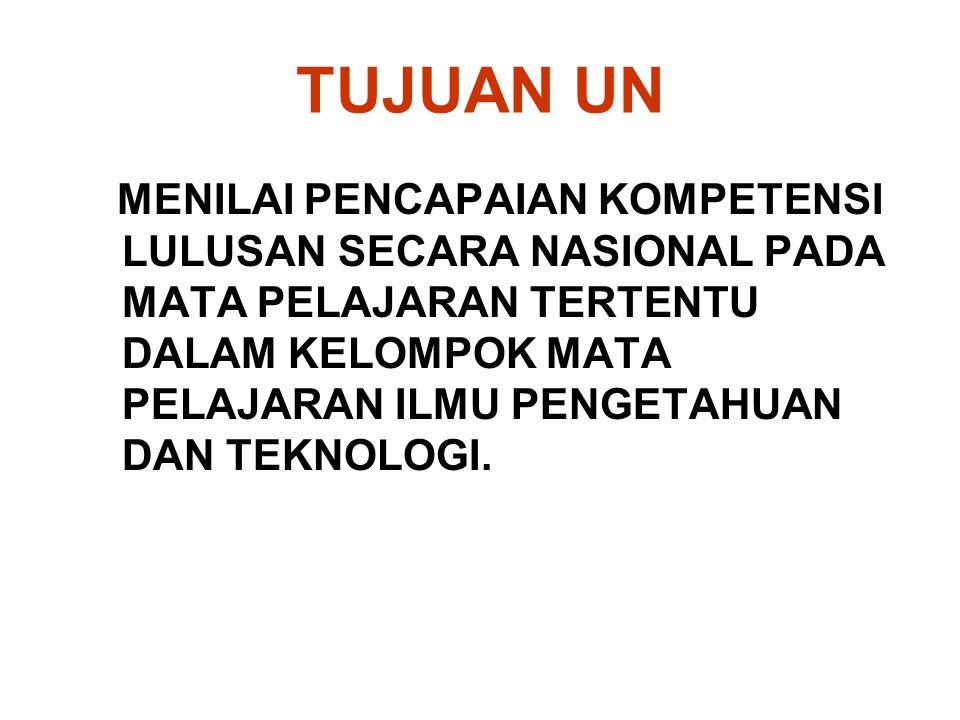 TUJUAN UASBN Menilai pencapaian kompetensi lulusan secara nasional pada mata pelajaran Bahasa Indonesia, Matematika, dan Ilmu Pengetahuan Alam (IPA); dan Mendorong tercapainya target wajib belajar pendidikan dasar yang bermutu.