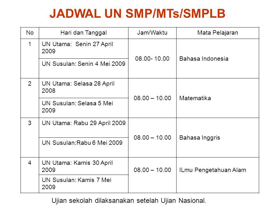 JADWAL UN SMP/MTs/SMPLB NoHari dan TanggalJam/WaktuMata Pelajaran 1UN Utama: Senin 27 April 2009 08.00- 10.00Bahasa Indonesia UN Susulan: Senin 4 Mei