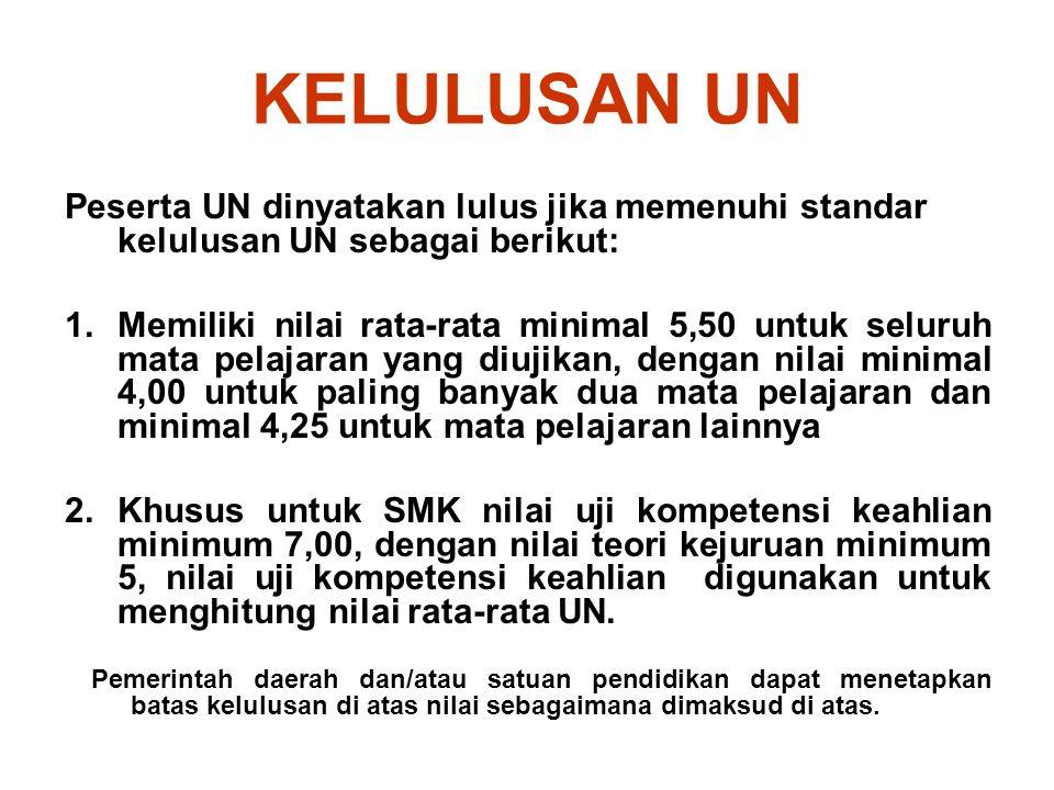 KELULUSAN UN Peserta UN dinyatakan lulus jika memenuhi standar kelulusan UN sebagai berikut: 1.Memiliki nilai rata-rata minimal 5,50 untuk seluruh mat