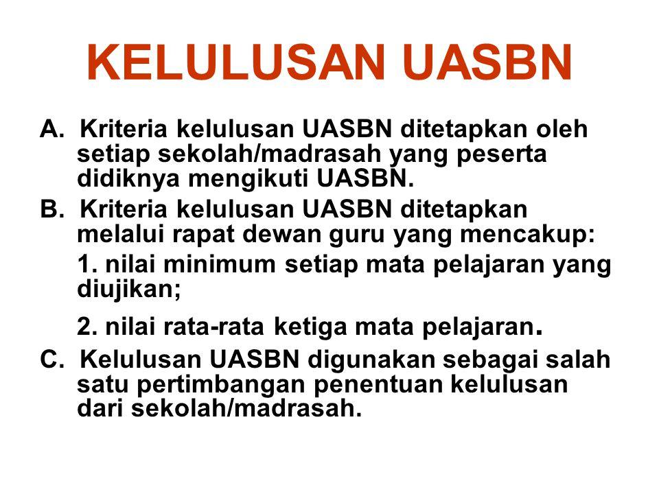 KELULUSAN UASBN A. Kriteria kelulusan UASBN ditetapkan oleh setiap sekolah/madrasah yang peserta didiknya mengikuti UASBN. B. Kriteria kelulusan UASBN
