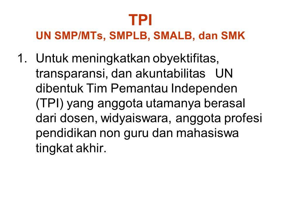 TPI UN SMP/MTs, SMPLB, SMALB, dan SMK 1.Untuk meningkatkan obyektifitas, transparansi, dan akuntabilitas UN dibentuk Tim Pemantau Independen (TPI) yan
