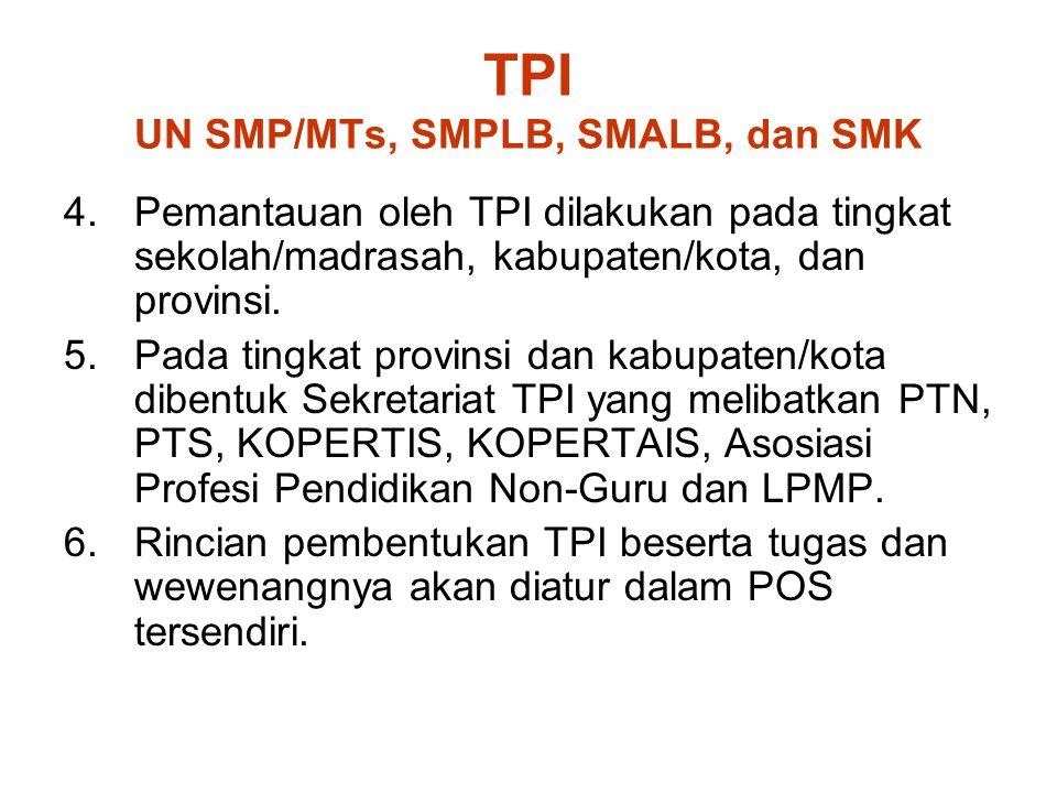 TPI UN SMP/MTs, SMPLB, SMALB, dan SMK 4.Pemantauan oleh TPI dilakukan pada tingkat sekolah/madrasah, kabupaten/kota, dan provinsi. 5.Pada tingkat prov