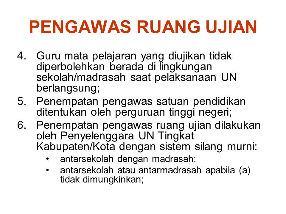 PENGAWAS RUANG UJIAN 4.Guru mata pelajaran yang diujikan tidak diperbolehkan berada di lingkungan sekolah/madrasah saat pelaksanaan UN berlangsung; 5.