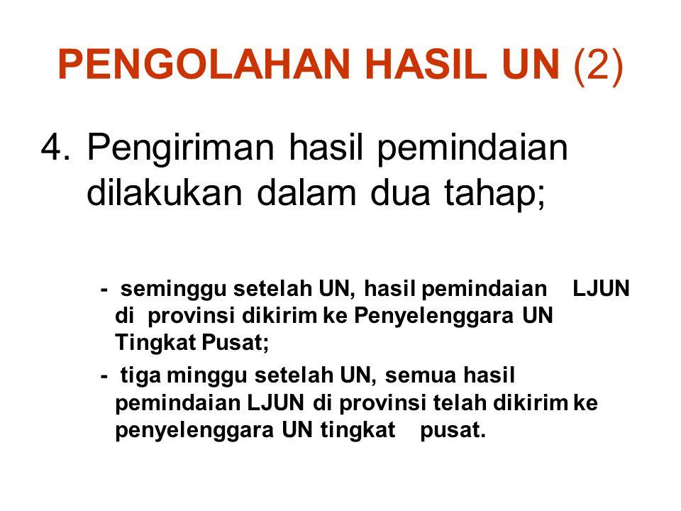 PENGOLAHAN HASIL UN (2) 4.Pengiriman hasil pemindaian dilakukan dalam dua tahap; - seminggu setelah UN, hasil pemindaian LJUN di provinsi dikirim ke P