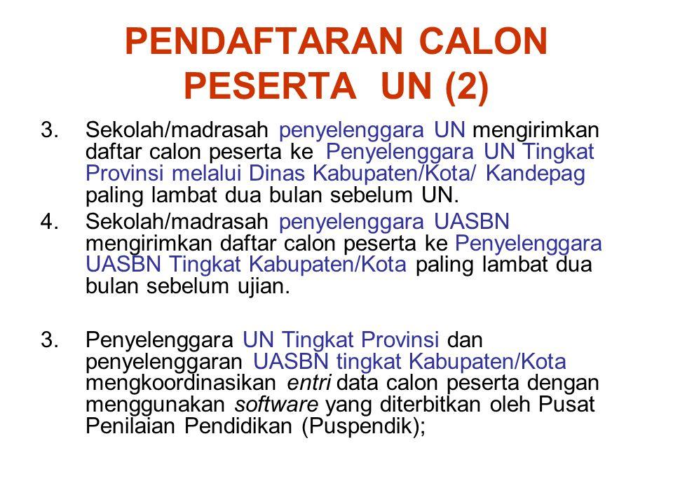 PENDAFTARAN CALON PESERTA UN (3) 5.Penyelenggara UN Tingkat Provinsi mencetak dan mendistribusikan Daftar Nominasi Sementara (DNS) ke sekolah/madrasah penyelenggara UN melalui Dinas Kabupaten/Kota/Kandepag; 6.Penyelenggara UASBN Tingkat Kabupaten/Kota mencetak dan mendistribusikan Daftar Nominasi Sementara (DNS) ke sekolah/madrasah penyelenggara UASBN.