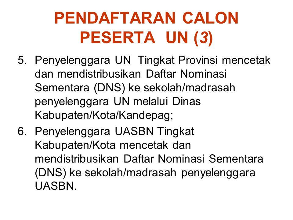 PENDAFTARAN CALON PESERTA UN (3) 5.Penyelenggara UN Tingkat Provinsi mencetak dan mendistribusikan Daftar Nominasi Sementara (DNS) ke sekolah/madrasah