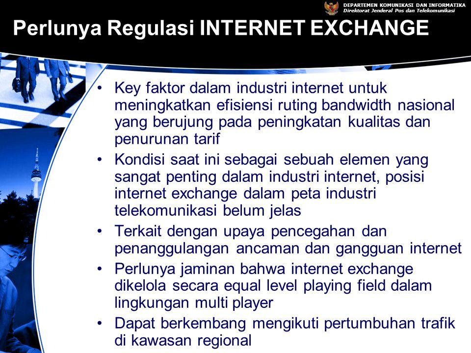 DEPARTEMEN KOMUNIKASI DAN INFORMATIKA Direktorat Jenderal Pos dan Telekomunikasi Perlunya Regulasi INTERNET EXCHANGE Key faktor dalam industri internet untuk meningkatkan efisiensi ruting bandwidth nasional yang berujung pada peningkatan kualitas dan penurunan tarif Kondisi saat ini sebagai sebuah elemen yang sangat penting dalam industri internet, posisi internet exchange dalam peta industri telekomunikasi belum jelas Terkait dengan upaya pencegahan dan penanggulangan ancaman dan gangguan internet Perlunya jaminan bahwa internet exchange dikelola secara equal level playing field dalam lingkungan multi player Dapat berkembang mengikuti pertumbuhan trafik di kawasan regional