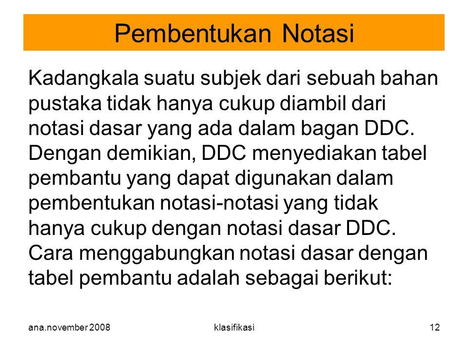 ana.november 2008klasifikasi12 Kadangkala suatu subjek dari sebuah bahan pustaka tidak hanya cukup diambil dari notasi dasar yang ada dalam bagan DDC.