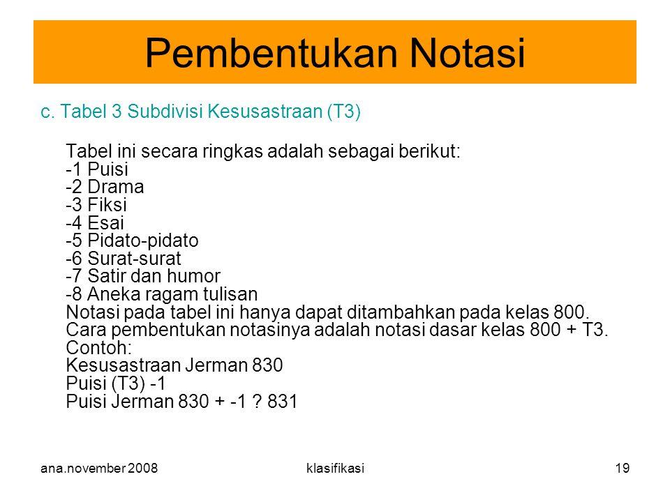 ana.november 2008klasifikasi19 c. Tabel 3 Subdivisi Kesusastraan (T3) Tabel ini secara ringkas adalah sebagai berikut: -1 Puisi -2 Drama -3 Fiksi -4 E