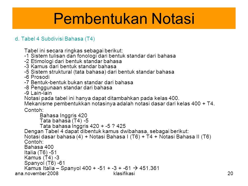 ana.november 2008klasifikasi20 d. Tabel 4 Subdivisi Bahasa (T4) Tabel ini secara ringkas sebagai berikut: -1 Sistem tulisan dan fonologi dari bentuk s