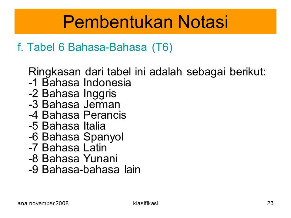 ana.november 2008klasifikasi23 f. Tabel 6 Bahasa-Bahasa (T6) Ringkasan dari tabel ini adalah sebagai berikut: -1 Bahasa Indonesia -2 Bahasa Inggris -3