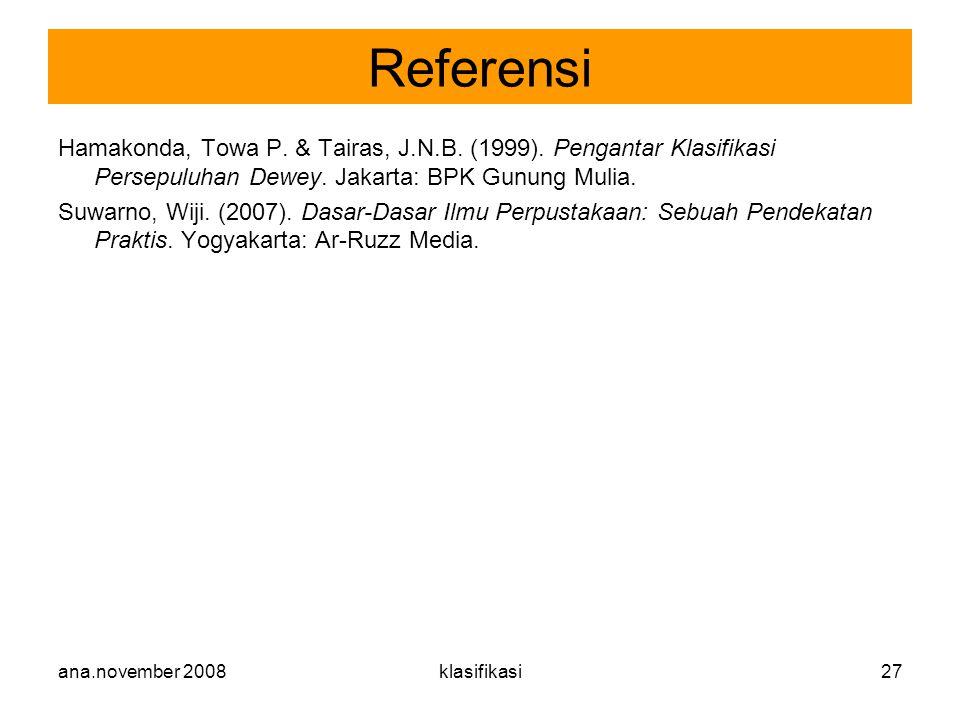 ana.november 2008klasifikasi27 Hamakonda, Towa P. & Tairas, J.N.B. (1999). Pengantar Klasifikasi Persepuluhan Dewey. Jakarta: BPK Gunung Mulia. Suwarn