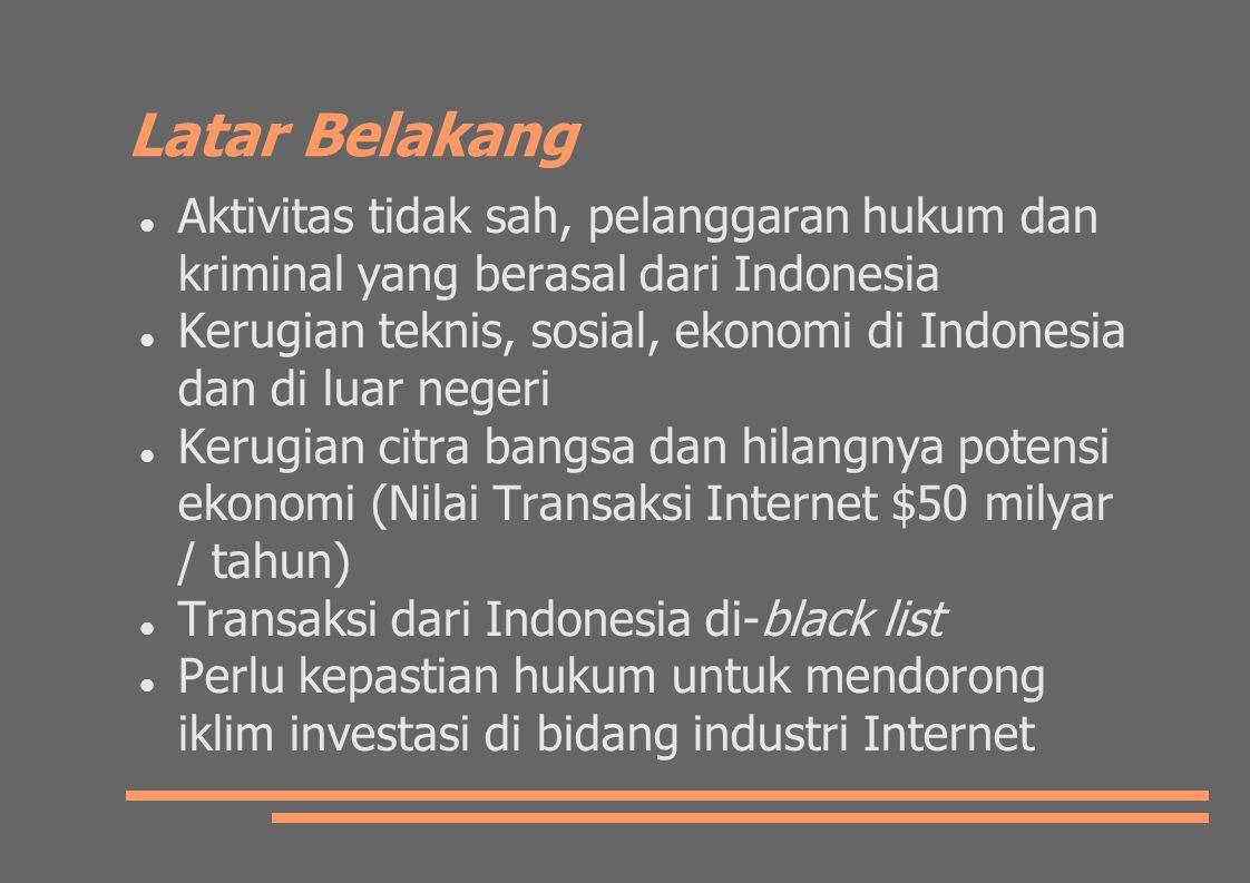 Latar Belakang Aktivitas tidak sah, pelanggaran hukum dan kriminal yang berasal dari Indonesia Kerugian teknis, sosial, ekonomi di Indonesia dan di luar negeri Kerugian citra bangsa dan hilangnya potensi ekonomi (Nilai Transaksi Internet $50 milyar / tahun) Transaksi dari Indonesia di-black list Perlu kepastian hukum untuk mendorong iklim investasi di bidang industri Internet