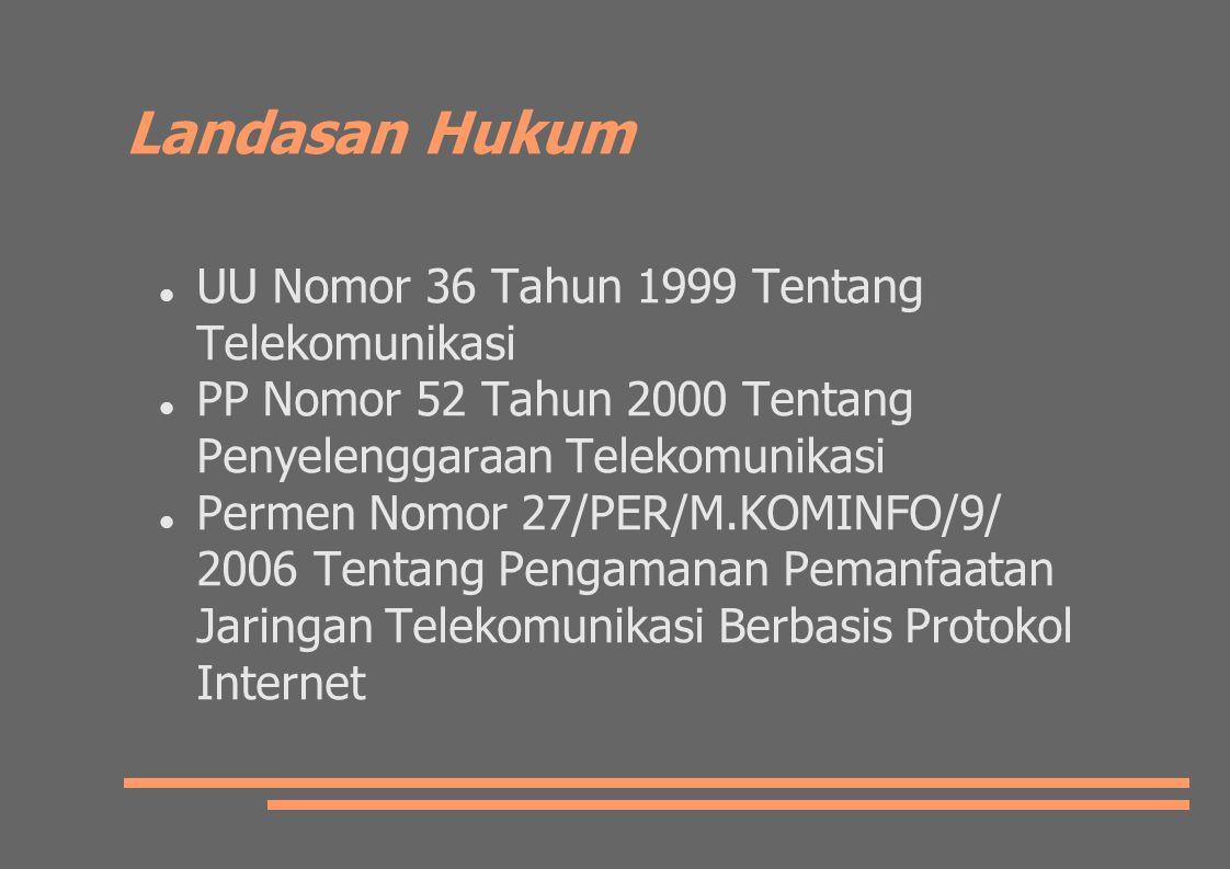 Landasan Hukum UU Nomor 36 Tahun 1999 Tentang Telekomunikasi PP Nomor 52 Tahun 2000 Tentang Penyelenggaraan Telekomunikasi Permen Nomor 27/PER/M.KOMINFO/9/ 2006 Tentang Pengamanan Pemanfaatan Jaringan Telekomunikasi Berbasis Protokol Internet