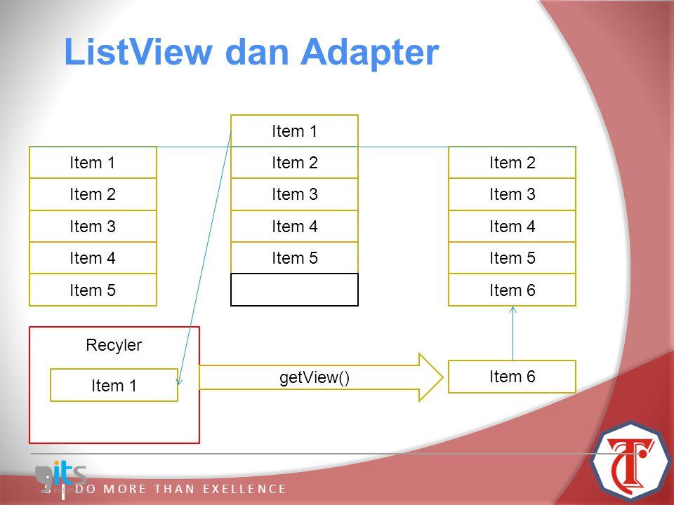 7 ListView : ListView dan Adapter  Mengatur View yang ada di layar  Meng-handle interaksi user Adapter :  Mengolah data  Membuat View untuk ListView