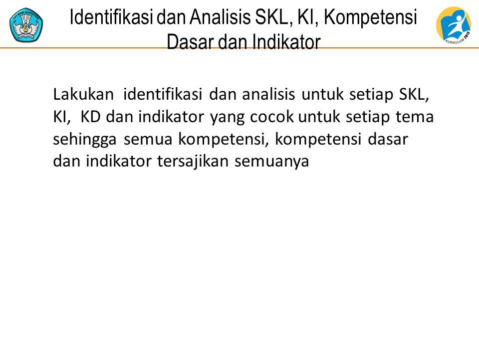 Identifikasi dan Analisis SKL, KI, Kompetensi Dasar dan Indikator Lakukan identifikasi dan analisis untuk setiap SKL, KI, KD dan indikator yang cocok