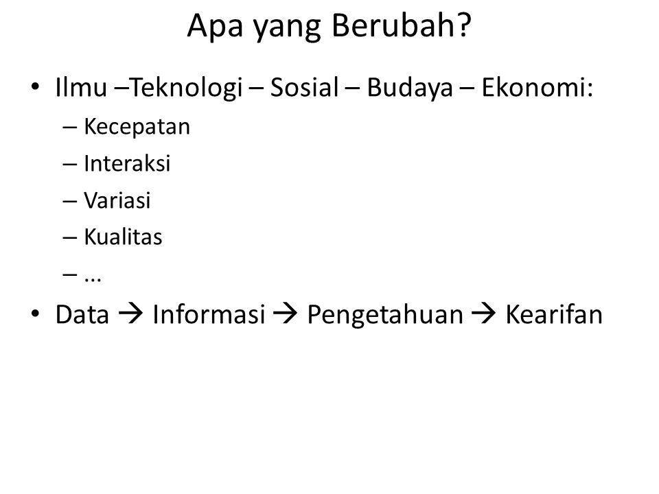 Apa yang Berubah? Ilmu –Teknologi – Sosial – Budaya – Ekonomi: – Kecepatan – Interaksi – Variasi – Kualitas –... Data  Informasi  Pengetahuan  Kear