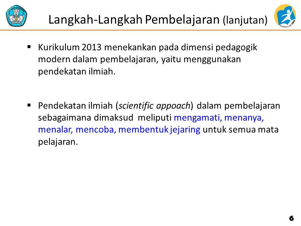  Kurikulum 2013 menekankan pada dimensi pedagogik modern dalam pembelajaran, yaitu menggunakan pendekatan ilmiah.