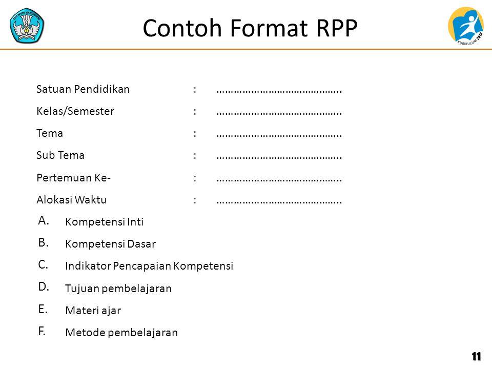 Contoh Format RPP 11 Satuan Pendidikan:…………………………………….. Kelas/Semester:…………………………………….. Tema:…………………………………….. Sub Tema:…………………………………….. Pertemuan Ke-: