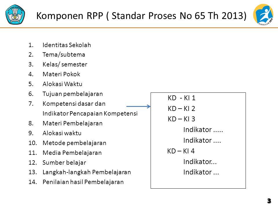 Komponen RPP ( Standar Proses No 65 Th 2013) 1.Identitas Sekolah 2.Tema/subtema 3.Kelas/ semester 4.Materi Pokok 5.Alokasi Waktu 6.Tujuan pembelajaran