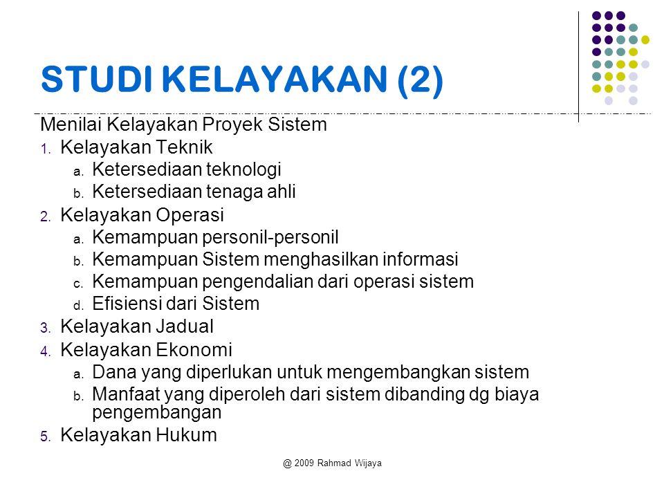 @ 2009 Rahmad Wijaya STUDI KELAYAKAN (2) Menilai Kelayakan Proyek Sistem 1.