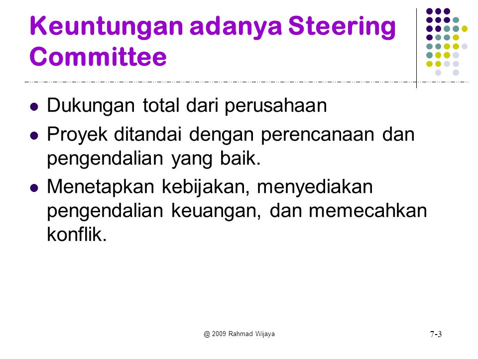 @ 2009 Rahmad Wijaya Executives MIS Steering Committee Project leader -Warehouse location model team Project leader MRP 11 team Project leader ISDN system team Project leader HRIS team Marketing Manufacturing Finance Human Resources Project leader Credit approval system team Managers of Systems Life Cycles are Arranged in a Hierarchy 7-4