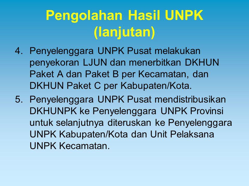 Pengolahan Hasil UNPK (lanjutan) 4.Penyelenggara UNPK Pusat melakukan penyekoran LJUN dan menerbitkan DKHUN Paket A dan Paket B per Kecamatan, dan DKH