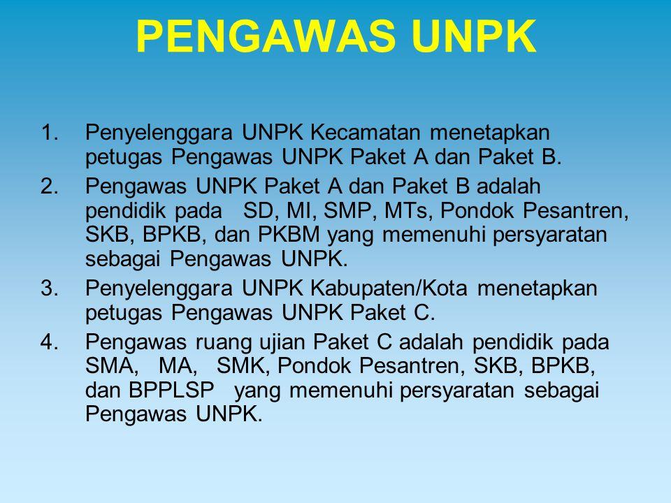 PENGAWAS UNPK 1.Penyelenggara UNPK Kecamatan menetapkan petugas Pengawas UNPK Paket A dan Paket B. 2.Pengawas UNPK Paket A dan Paket B adalah pendidik