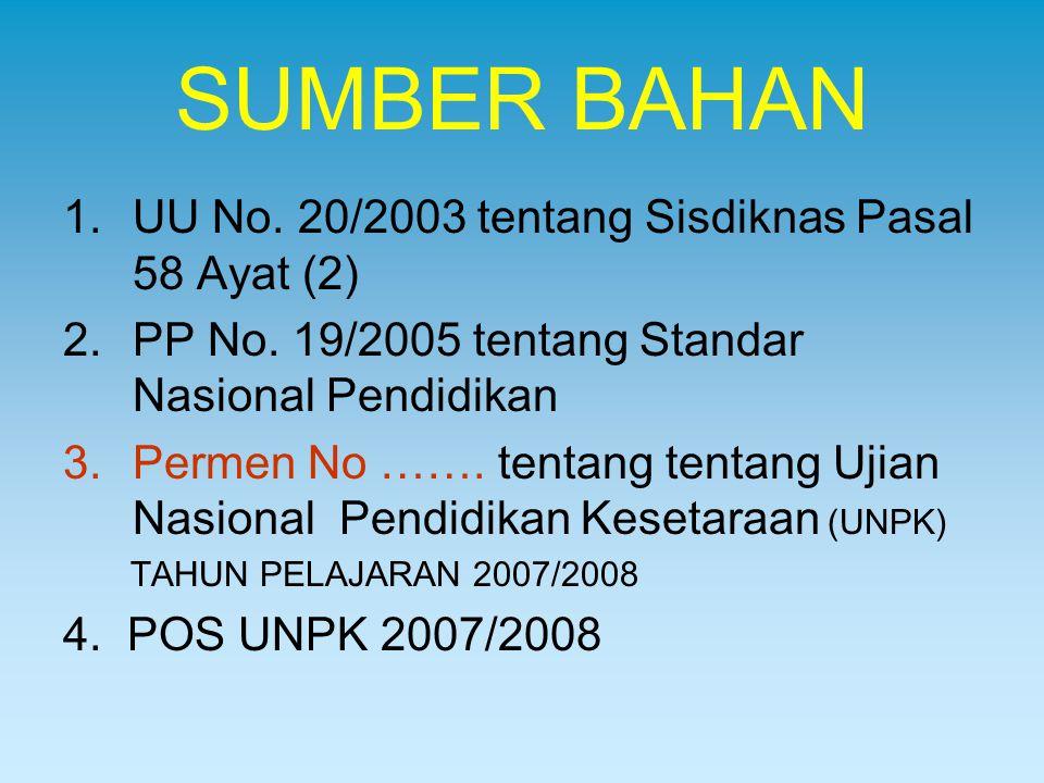 SUMBER BAHAN 1.UU No. 20/2003 tentang Sisdiknas Pasal 58 Ayat (2) 2.PP No. 19/2005 tentang Standar Nasional Pendidikan 3.Permen No ……. tentang tentang
