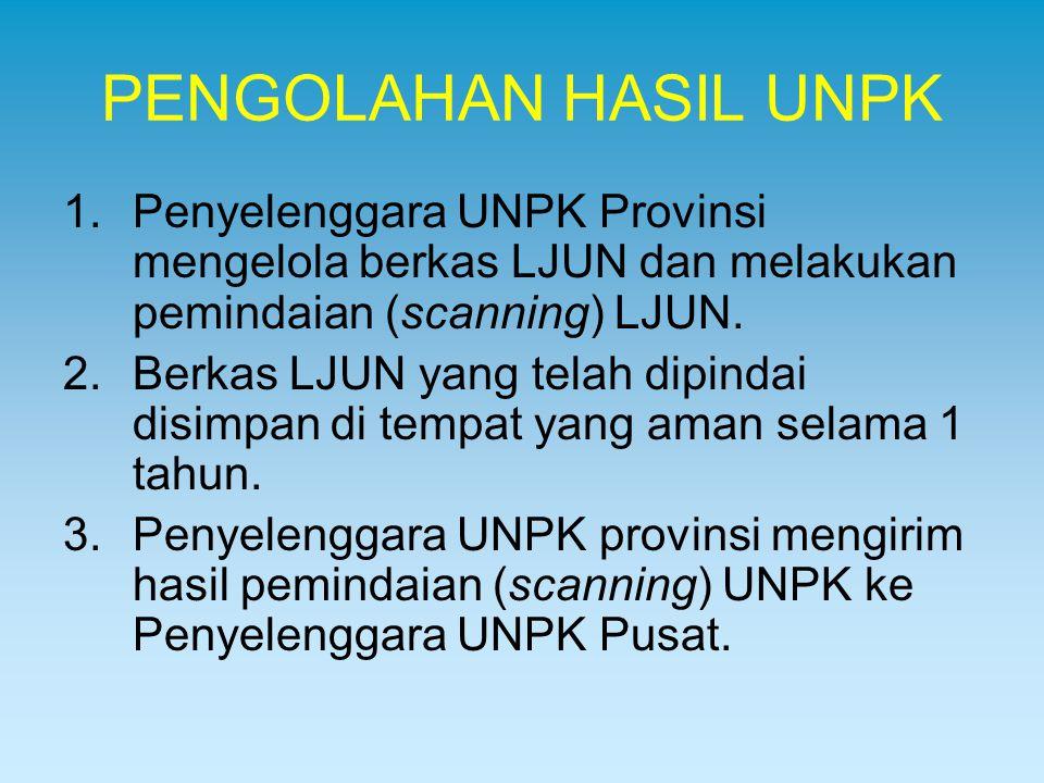 PENGOLAHAN HASIL UNPK 1.Penyelenggara UNPK Provinsi mengelola berkas LJUN dan melakukan pemindaian (scanning) LJUN. 2.Berkas LJUN yang telah dipindai