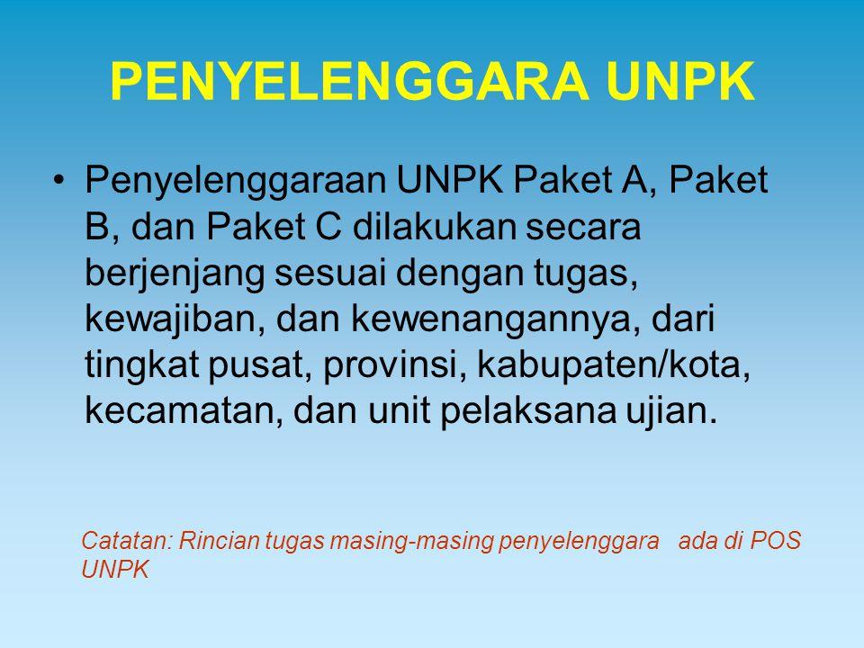 PENYELENGGARA UNPK Penyelenggaraan UNPK Paket A, Paket B, dan Paket C dilakukan secara berjenjang sesuai dengan tugas, kewajiban, dan kewenangannya, d