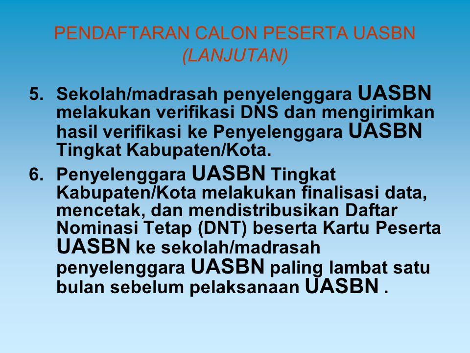 PENDAFTARAN CALON PESERTA UASBN (LANJUTAN) 5.Sekolah/madrasah penyelenggara UASBN melakukan verifikasi DNS dan mengirimkan hasil verifikasi ke Penyele