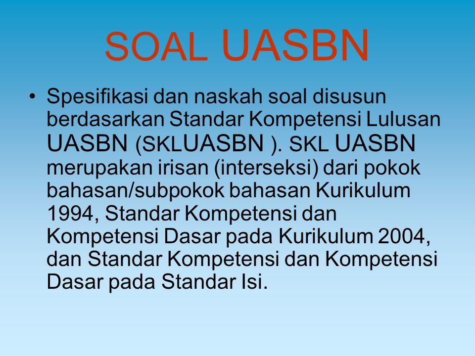 SOAL UASBN Spesifikasi dan naskah soal disusun berdasarkan Standar Kompetensi Lulusan UASBN (SKL UASBN ). SKL UASBN merupakan irisan (interseksi) dari