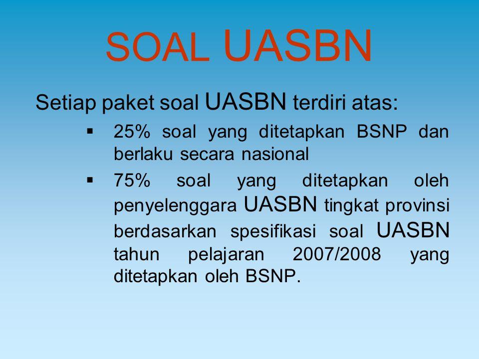 SOAL UASBN Setiap paket soal UASBN terdiri atas:  25% soal yang ditetapkan BSNP dan berlaku secara nasional  75% soal yang ditetapkan oleh penyeleng