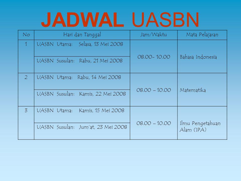 JADWAL UASBN NoHari dan TanggalJam/WaktuMata Pelajaran 1UASBN Utama: Selasa, 13 Mei 2008 08.00- 10.00Bahasa Indonesia UASBN Susulan: Rabu, 21 Mei 2008