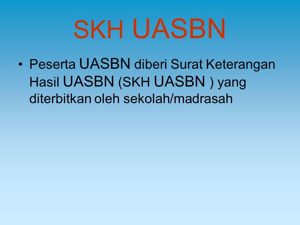 SKH UASBN Peserta UASBN diberi Surat Keterangan Hasil UASBN (SKH UASBN ) yang diterbitkan oleh sekolah/madrasah