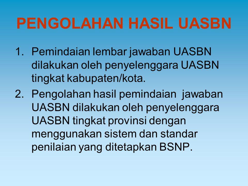 PENGOLAHAN HASIL UASBN 1.Pemindaian lembar jawaban UASBN dilakukan oleh penyelenggara UASBN tingkat kabupaten/kota. 2.Pengolahan hasil pemindaian jawa