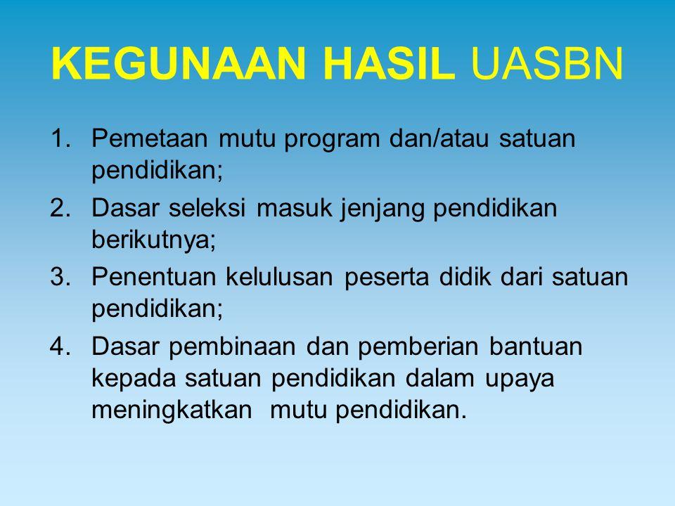 KEGUNAAN HASIL UASBN 1.Pemetaan mutu program dan/atau satuan pendidikan; 2.Dasar seleksi masuk jenjang pendidikan berikutnya; 3.Penentuan kelulusan pe