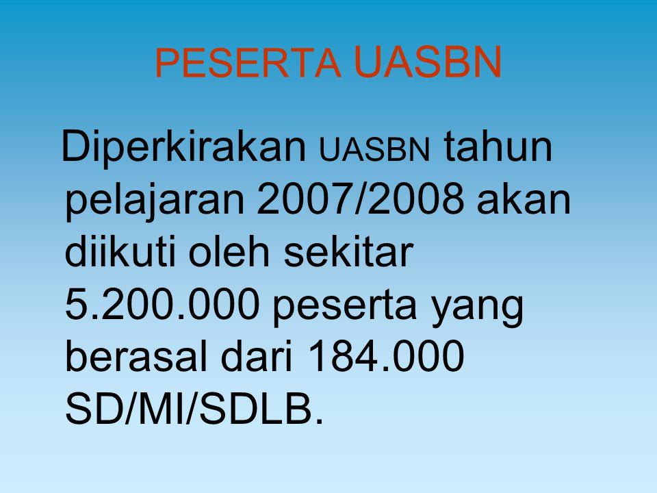 PESERTA UASBN Diperkirakan UASBN tahun pelajaran 2007/2008 akan diikuti oleh sekitar 5.200.000 peserta yang berasal dari 184.000 SD/MI/SDLB.