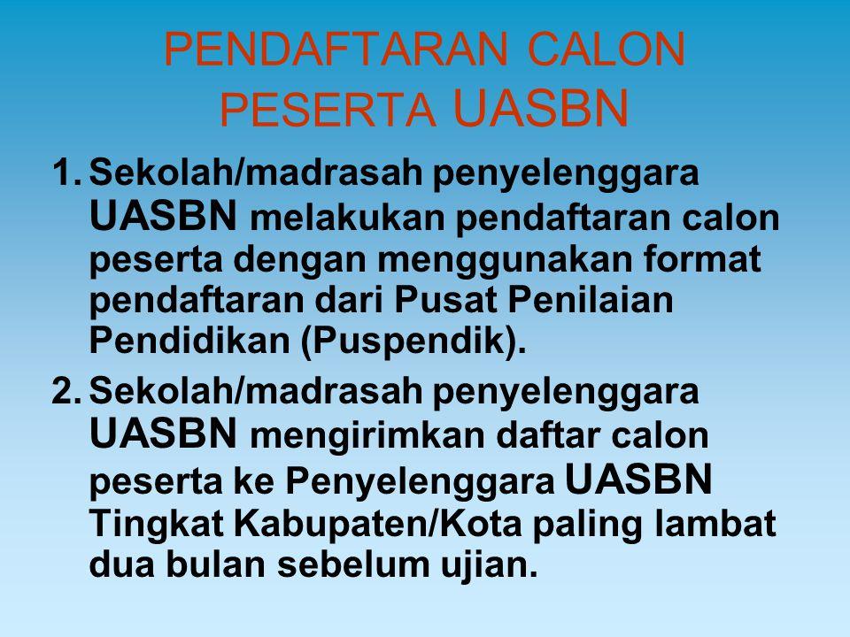 PENDAFTARAN CALON PESERTA UASBN 1.Sekolah/madrasah penyelenggara UASBN melakukan pendaftaran calon peserta dengan menggunakan format pendaftaran dari